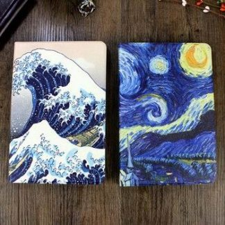 Case in blue tones with imitation of oil painting and 2-stand for iPad Air 1, iPad Air 2