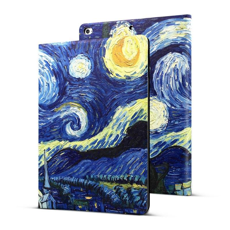 ipad air 2 case in blue tones with imitation of oil painting and 2 stand 1: