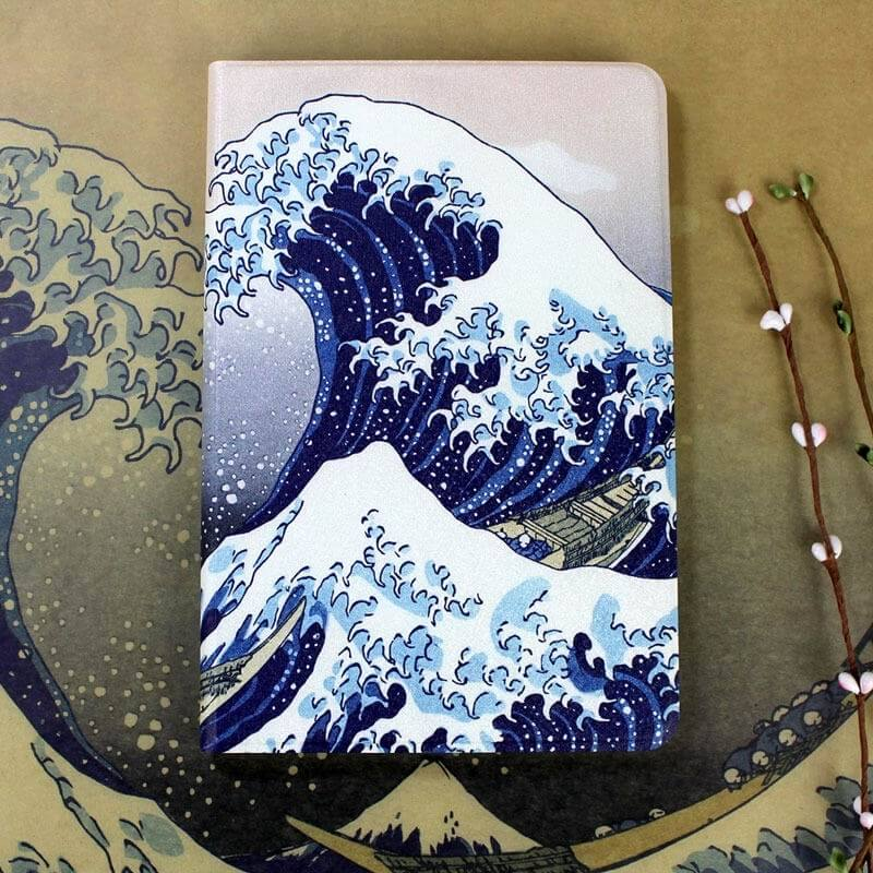 ipad air 2 case in blue tones with imitation of oil painting and 2 stand 2: