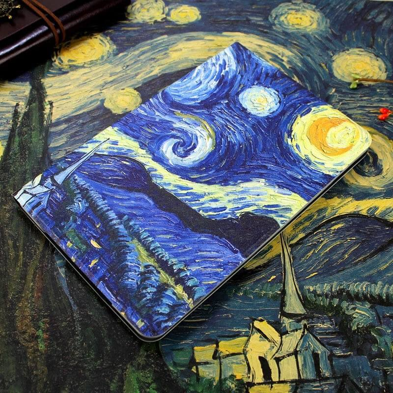ipad air 2 case in blue tones with imitation of oil painting and 2 stand