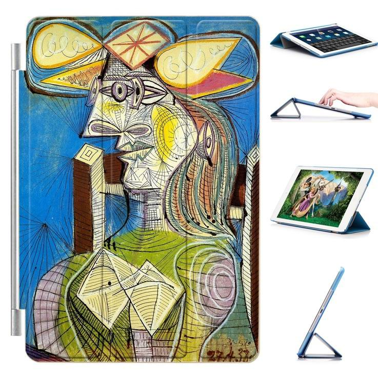 ipad air 2 case with a picture of oil painting and 3 stand Characters drawn like: