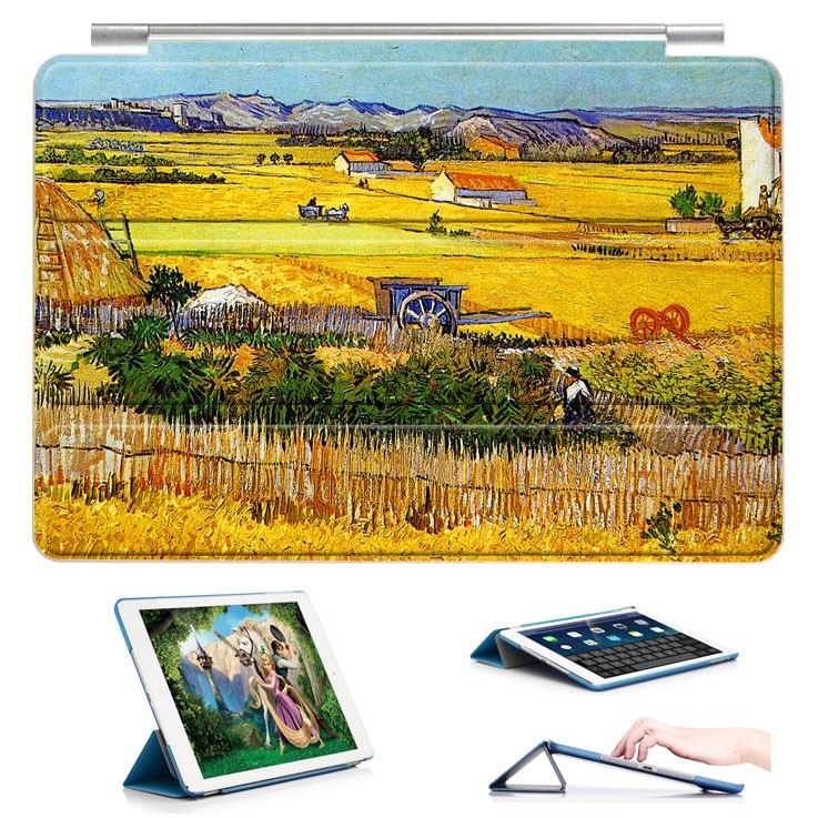 ipad air 2 case with a picture of oil painting and 3 stand Golden Harvest: