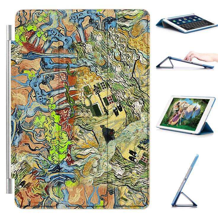 ipad air 2 case with a picture of oil painting and 3 stand Street abstract:
