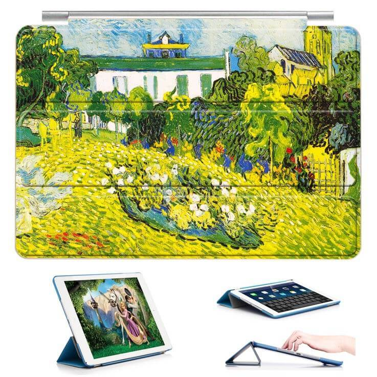 ipad air 2 case with a picture of oil painting and 3 stand Rear garden: