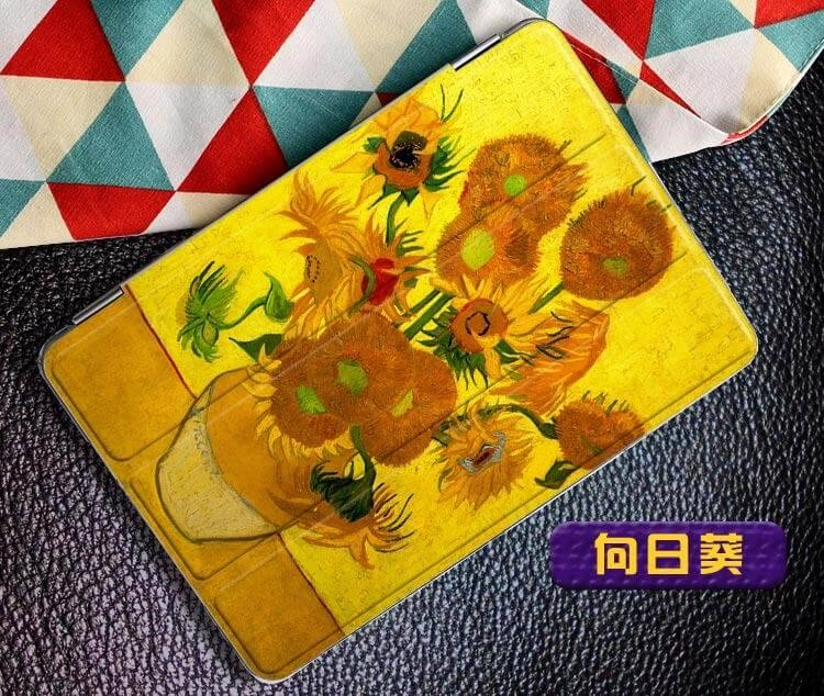 ipad air 2 case with a picture of oil painting and 3 stand Sunflower:
