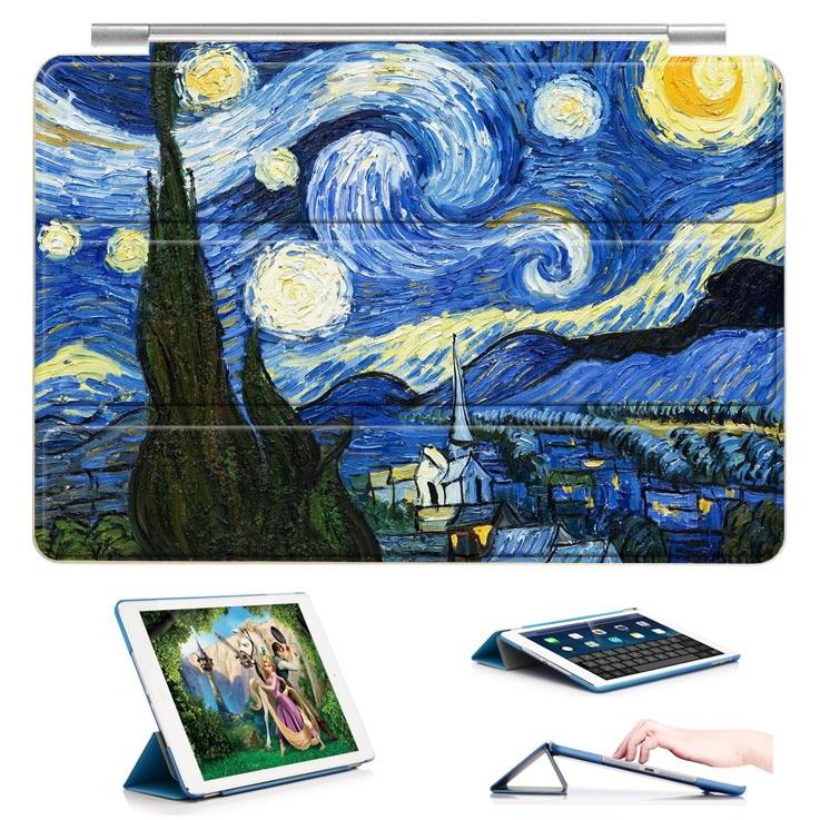 ipad air 2 case with a picture of oil painting and 3 stand Moon and stars night: