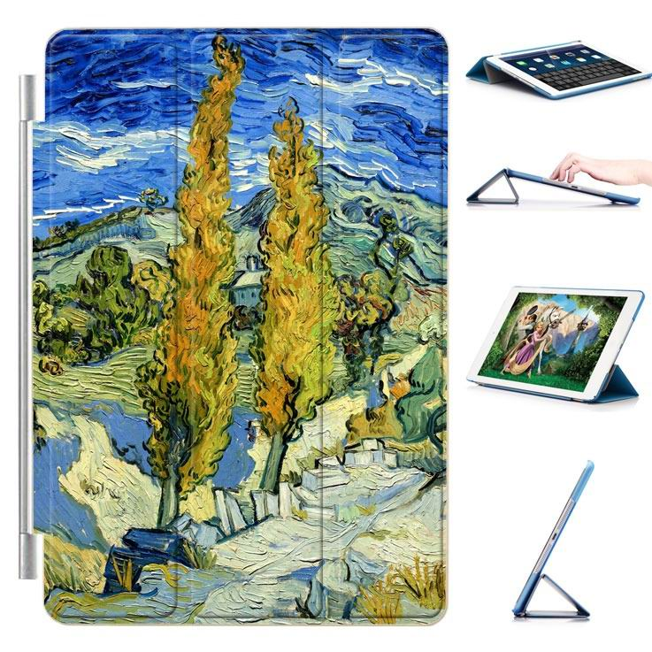ipad air 2 case with a picture of oil painting and 3 stand Country road: