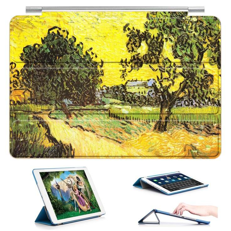 ipad air 2 case with a picture of oil painting and 3 stand Countryside trees: