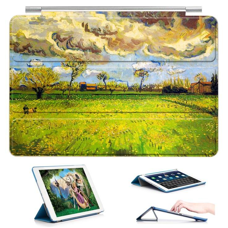ipad air 2 case with a picture of oil painting and 3 stand Field weather: