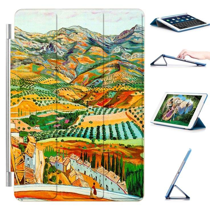 ipad air 2 case with a picture of oil painting and 3 stand Mountain fields: