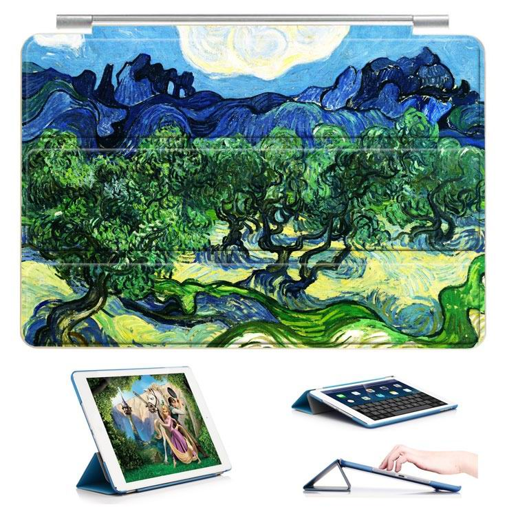 ipad air 2 case with a picture of oil painting and 3 stand Mountain fruit trees: