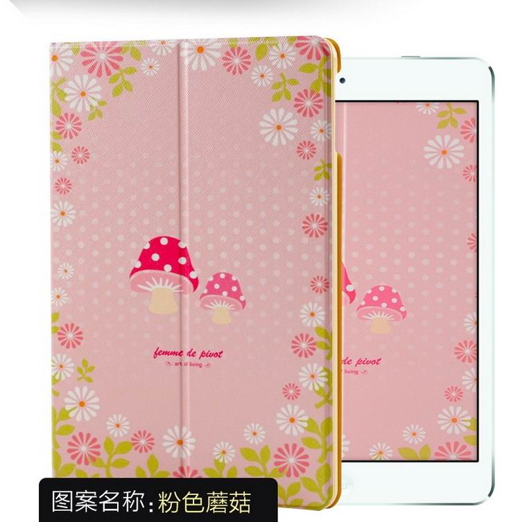 ipad air 2 case with a variety of pictures and with 2 stand Powder mushroom:
