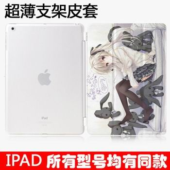 case with cartoon anime girl with 3 stand and plastic transparent housing 00