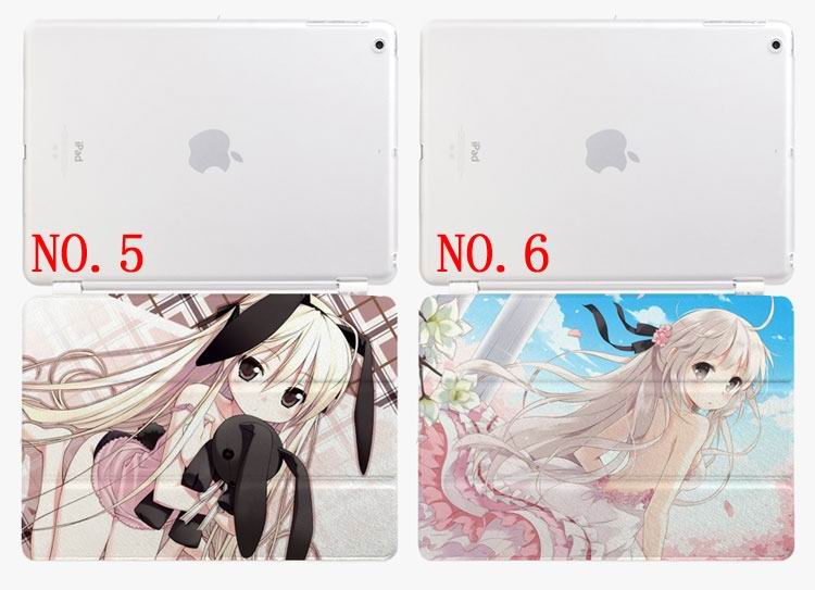 ipad air 2 case with cartoon anime girl with 3 stand and plastic transparent housing